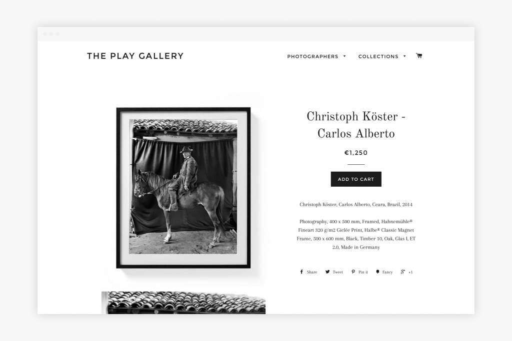 Onlineshop for the Play Gallery, Photo Gallery, Hamburg
